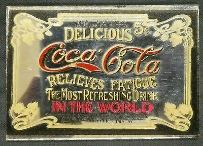 "Dollhouse Miniatures Mirror Sign Advertising COCA COLA COKE 2 1/4"" x 1 1/2"""