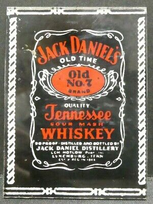 "Dollhouse Miniatures Mirror Sign Advertising JACK DANIELS WHISKEY 1 1/2"" x 2"""