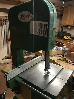 """Grizzly G1073 16"""" Bandsaw with mobile cart, 3 speed belt drive, 2 extra blades"""