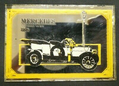 "Dollhouse Miniatures Mirror Sign Advertising Car MERCEDES 1908 2 1/4"" x 1 1/2"""