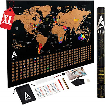 Scratch off Map of the World XL Poster - US States outlined - Extra Large size a