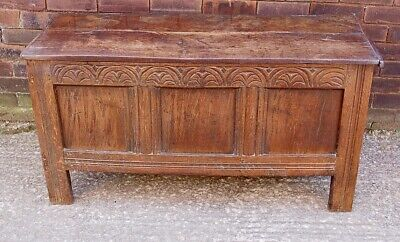 Stunning Period Oak Coffer Bedding  Mule Dower  Chest Iron Ring Hinges 17Th C ?
