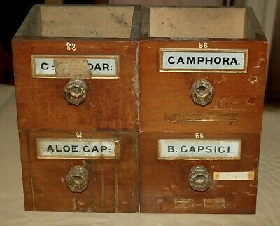 4 Victorian Chemist Medical Apothecary Drawers Glass Handle & Original Labels