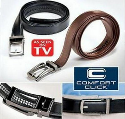 """Men's Comfort Click Belt Leather With Steel Black As seen on TV 28""""-48"""" USA"""