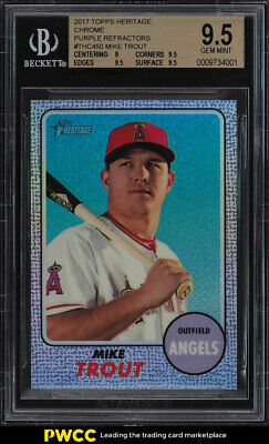 2017 Topps Heritage Chrome Purple Refractor Mike Trout #450 BGS 9.5 GEM (PWCC)