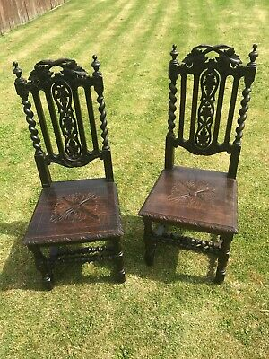 Antique Pair Heavily Carved Victorian Oak Hall Chairs.