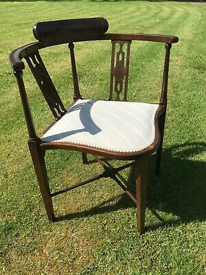 Antique Victorian Inlaid Mahogany Corner Chair