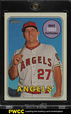 2018 Topps Heritage Reverse Stock Variation SP Mike Trout /5 #275 (PWCC)