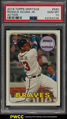 2018 Topps Heritage Action Ronald Acuna Jr. ROOKIE RC #580 PSA 10 GEM MT (PWCC)