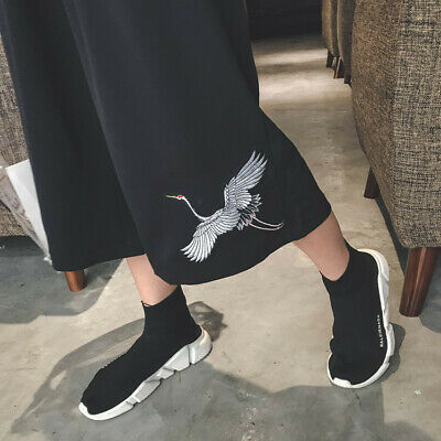 Womens Trousers Girls Black Loose Pants White Crane Embrodiery Cropped