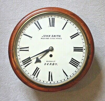 Antique Railway Station Clock by John Smith Midland Clock Works Derby