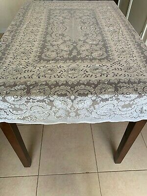 Pre-Owned Rectangular White Lace Tablecloth - 57 X 73 100% Cotton