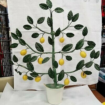Vintage Italian Potted Lemon Tree Tole  Toleware Candle Wall Hanging Decor 17x20