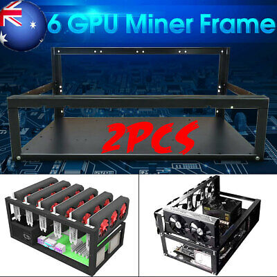 2x Crypto Coin Open Air Mining Miner Frame Rig Case up to 6 GPU ETH BTC Ethereum