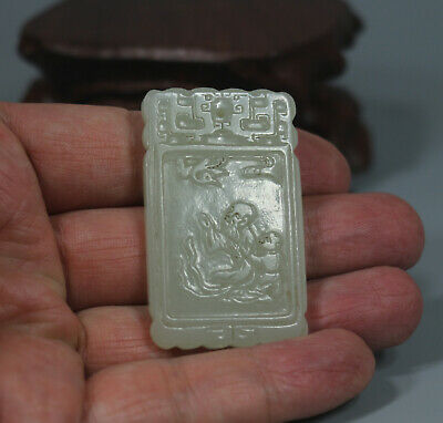 old Chinese WHITE jade carved elder w child words design lucky Asia pendant