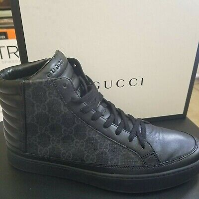 bd66f662f Gucci Men's Supreme GG High Top Sneakers Trainers Logo 433717 7G Black 8  Mint