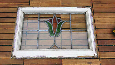 Antique Stained Glass Window Panel, Wooden Frame, Vintage, Nouveau Deco