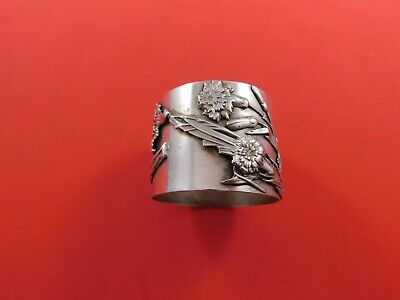 Flora by Shiebler Sterling Silver Napkin Ring #3006 w/ Applied Carnations