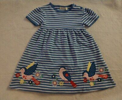 NWT Jojo Maman Bebe Pretty Bird Flower Applique Dress 5 6 5-6 Girls