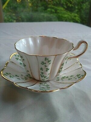 Royal Tara Shamrock Tea Cup Saucer Wave Scallop Gold Trim edge Bone China clover