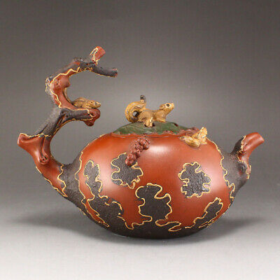 Chinese Yixing Zisha Clay Teapot w Squirrels & Artist Signed
