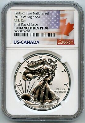 2019 W American Eagle S $1  Ngc Rev Pf70 First Day Of Issue 5758053-003