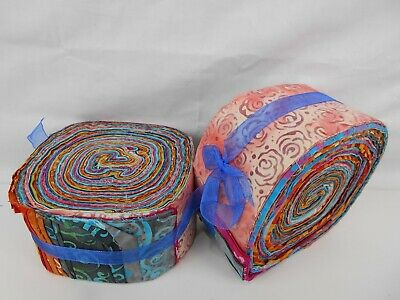 """Jelly Roll 40 X 2.5"""" strips - Quilting/Patchwork Batik Fabric 100% Cotton"""
