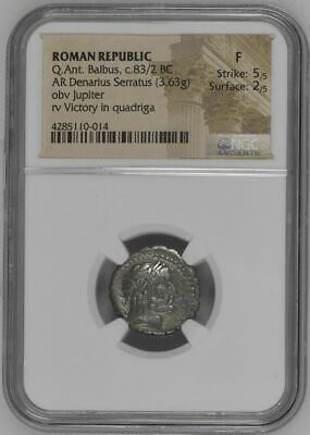 NGC Roman Republic Denarius-Serratus Q ANTONIUS BALBUS, Anti-Sullan Issue, 83 BC