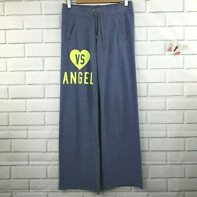 VS Victoria Secret Angel Logo Sweatpants XSMall Blue Green Drawstring Pants I200