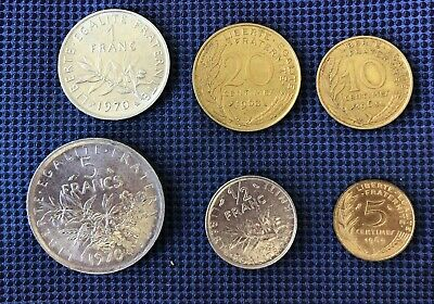 1960's-70's France Type Set 5,1, 1/2 Francs, 20,10,5 Centimes Nice Collectible
