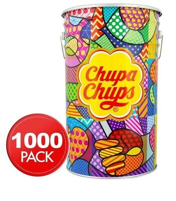 NEW Chupa Chups Bulk 1000 Lollipops Mega Tin Assorted Flavours Fundraising Idea!