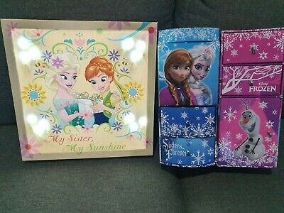 Frozen Room Accessories- light up canvas frame and jewellery/storage boxes x 2