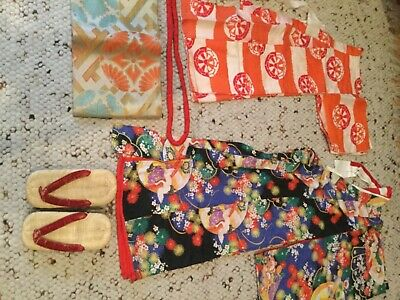 Complete 1940's Child's Kimono Set With Footwear