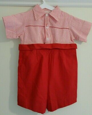 VINTAGE 1950's CHILDREN'S ROMPER PLAYSUIT RED WHITE STRIPE EXCELLENT CONDITION