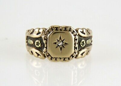 Antique 19th Century American Victorian 10K Yellow Gold & Diamond Ring
