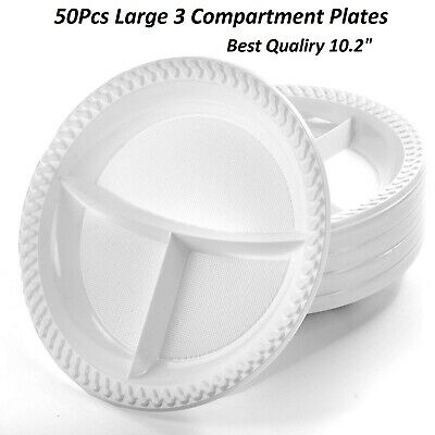 "50 x PLASTIC PLATES 3 COMPARTMENT 10"" 2 DISPOSABLE PARTY CATERING PLATE WHITE"