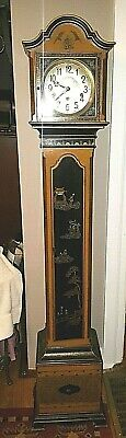 Antique Art Deco German / Colonial Mfg? Chinese Motif Grandmother Clock,