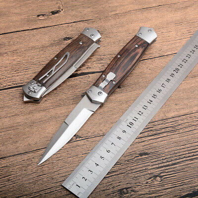 Folding Knife outdoor camping knife pocket survival tactical wood handle tool