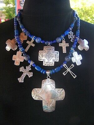Southwestern Native American Sterling Silver Lapis Multi Cross Charm Necklace