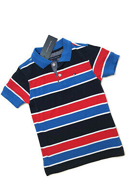 Tommy Hilfiger Polo Shirt Blue Red White Stripe Short Sleeve Boys Small 4