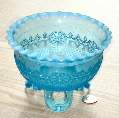 antique JEFFERSON WHEEL #260 blue opalescent glass dish FOOTED BOWL 1905