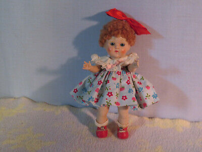 Ginny 1952 auburn poodle, strung sweetie red VG center snap shoes, tagged dress