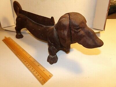"Authentic Early Antique 16"" Cast Iron Dachshund Wiener Dog Boot Scraper NICE"