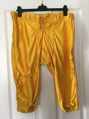 Men's Sports American Football Lace Up Pants Trousers Shorts Size XL Yellow