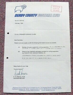 Derby County, Letter to all Premier League Clubs regarding Ticket Allocation