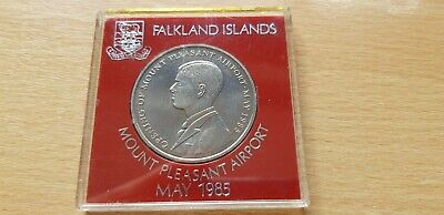 Falkland Islands 1985 Opening of Mount Pleasant Airport 50p coin 50 Pence Cased