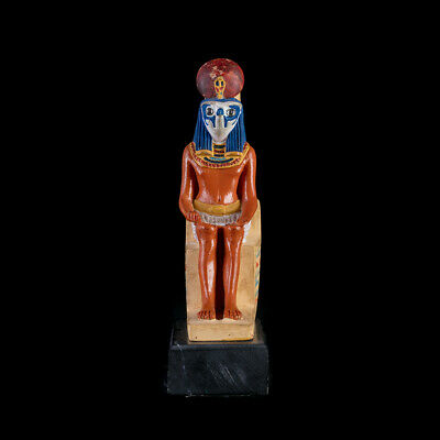 Statue Falcon Ancient Egyptian God Horus Seated on Throne Museum Replica art