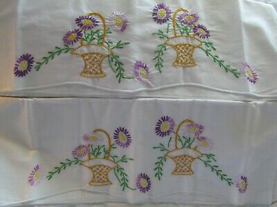 UNUSED Pr Vintage Cotton Pillowcases w Embroidered Flower Baskets Purple Yellow