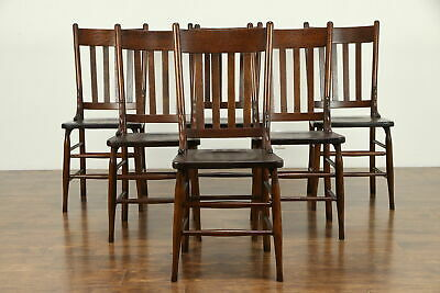 Set of 6 Antique 1900 Solid Oak Dining Chairs #31366