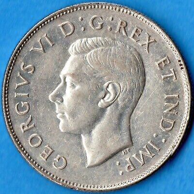 Canada 1947 Maple Leaf 50 Cents Fifty Cents Silver Coin - Trend $110 - EF